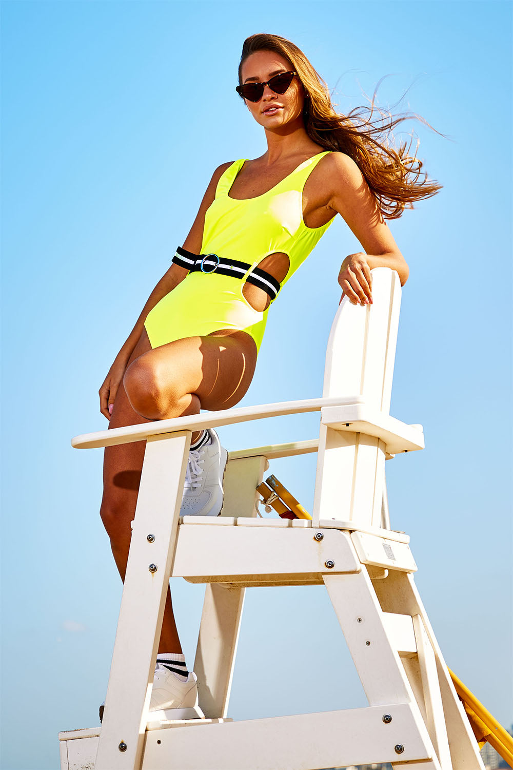 Neon Cut Out Swimsuit with Stripe Belt