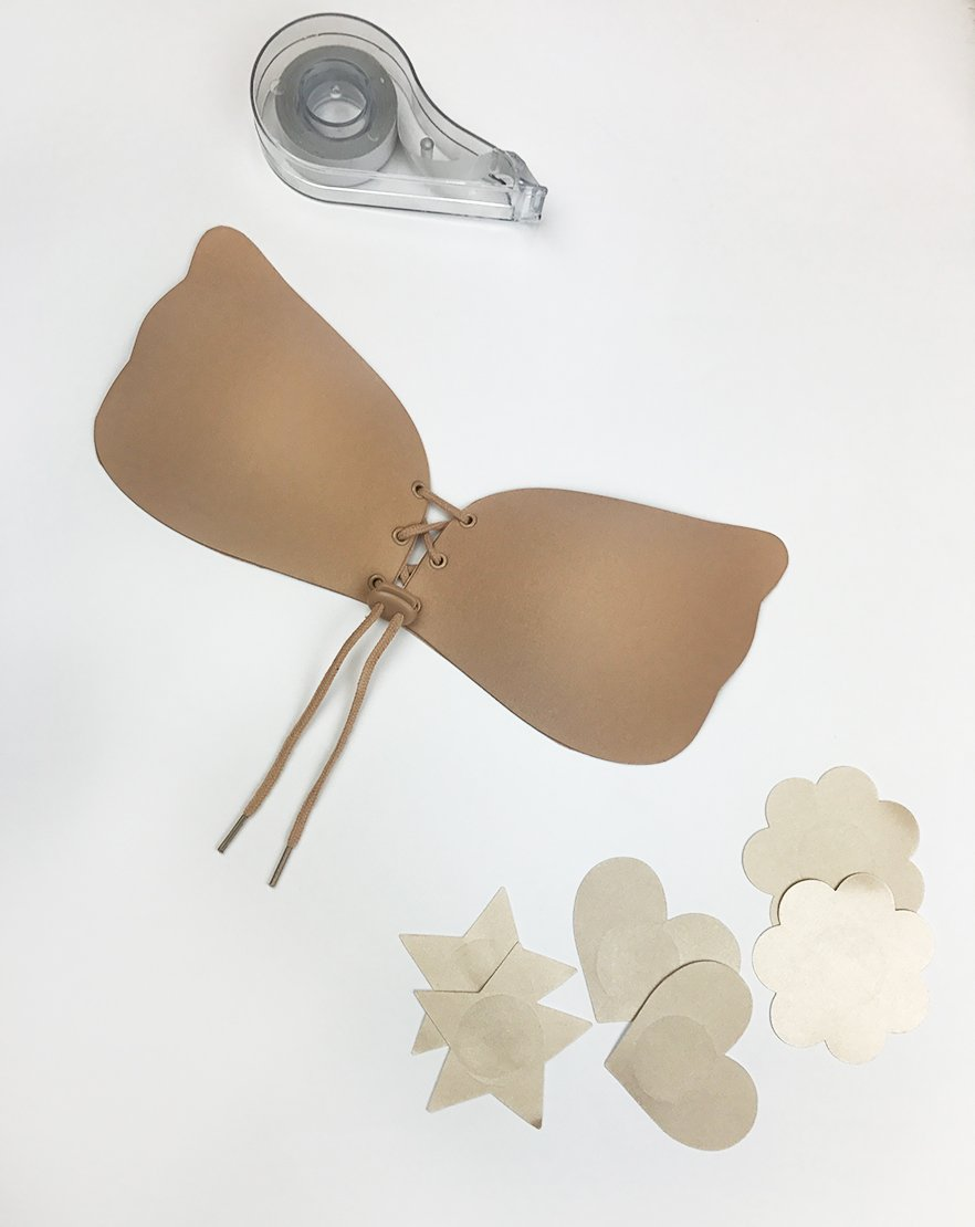 Stick With Me - Nude Stick On Bra, 3pk Nipple Covers & Body Tape