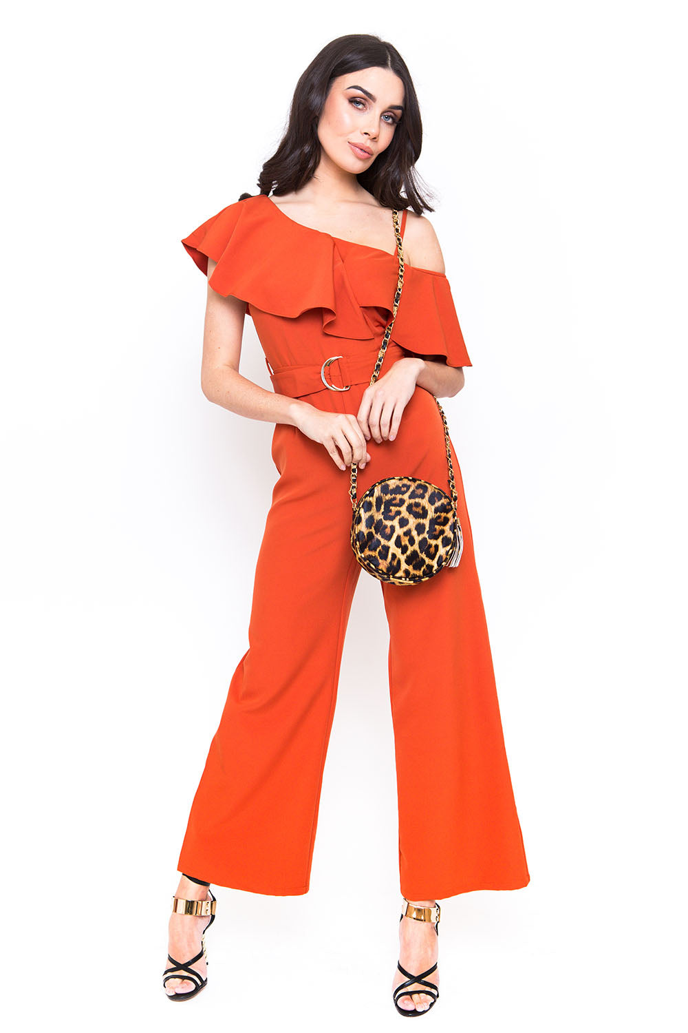 Belted Burnt Orange Jumpsuit with Frill Detail