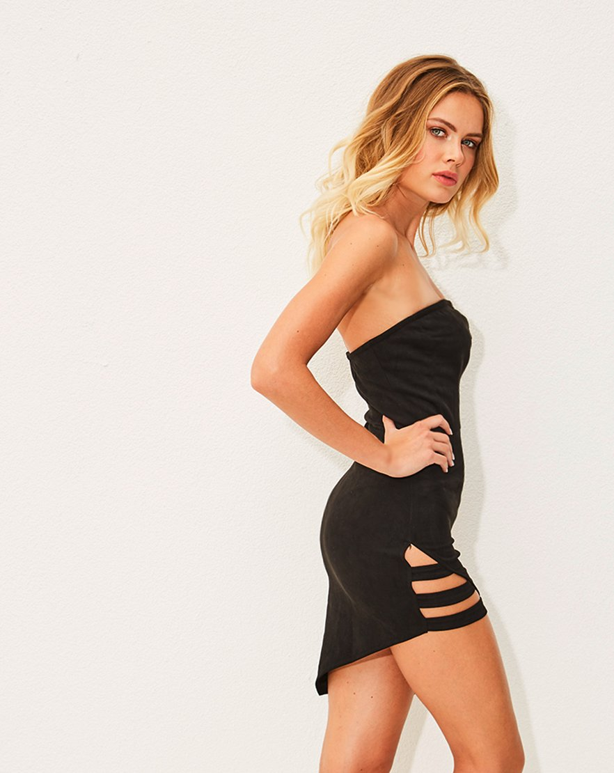 Strap Me In - Black Bandeau Bodycon Strap Detail Dress