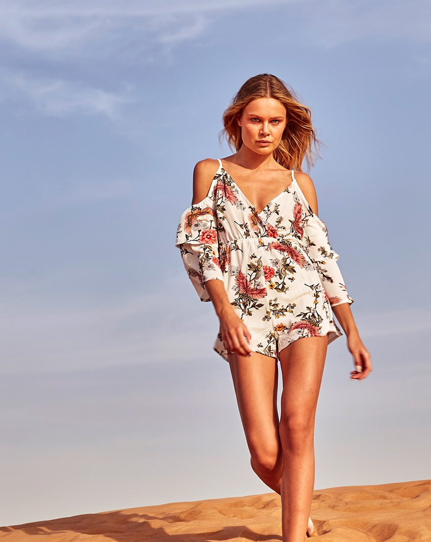Golden Sands - White Floral Split Sleeve Playsuit