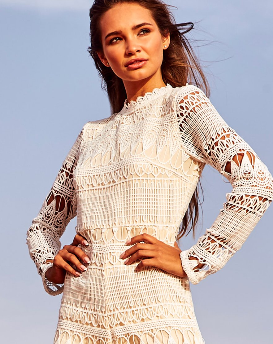 Keep It Crochet - White Long Sleeve Crochet Playsuit