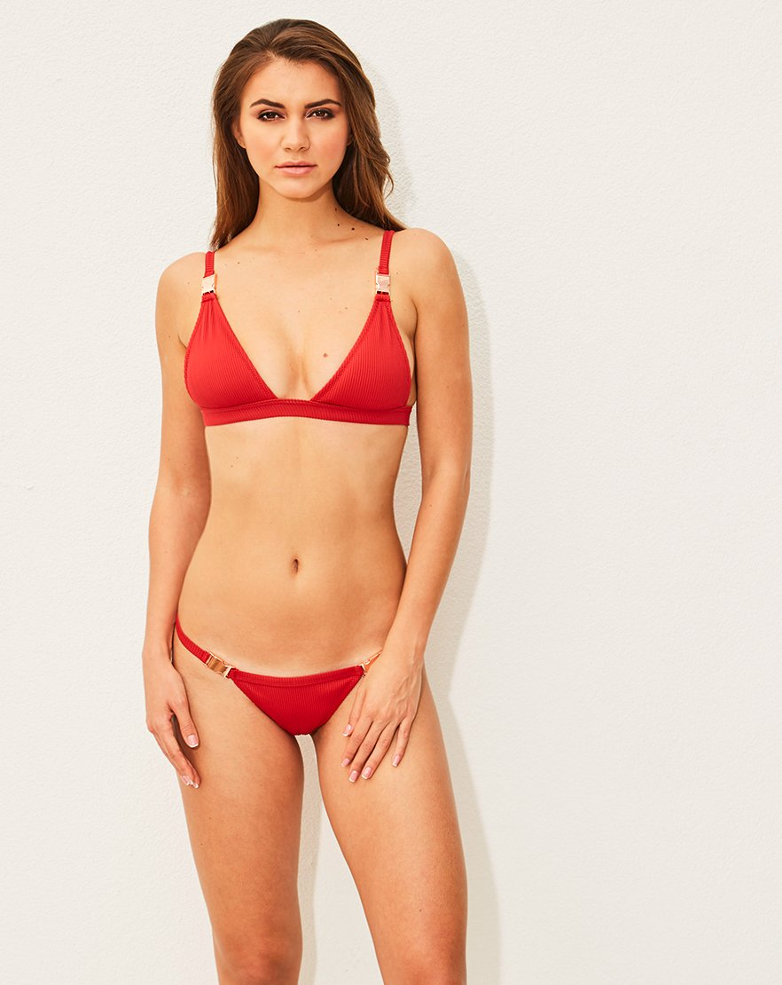Red Rib Triangle Bikini with Buckle