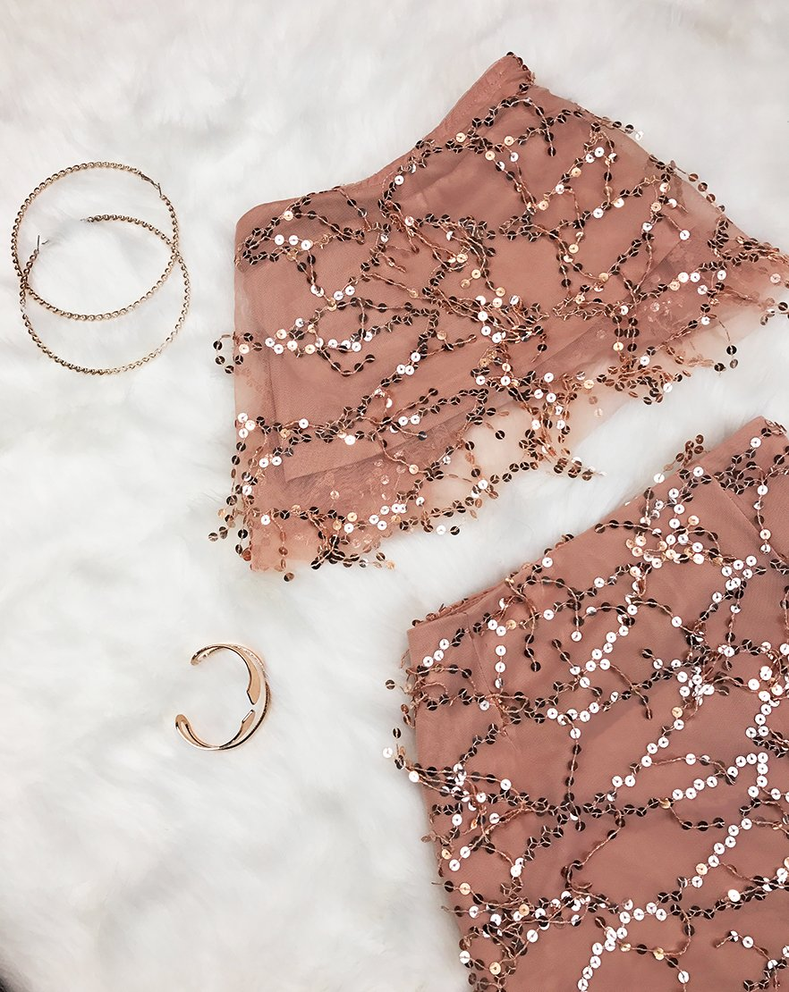 It's A Match - Blush Sequin Co-ord