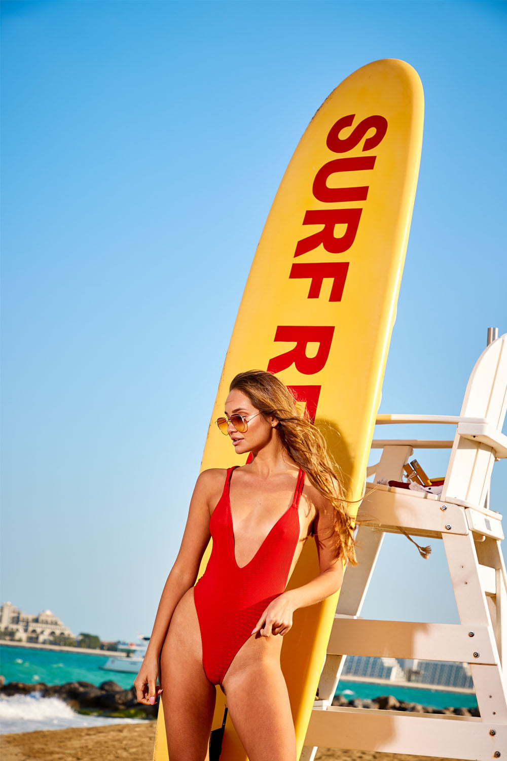 Red Rib Belted Ring Detail Swimsuit
