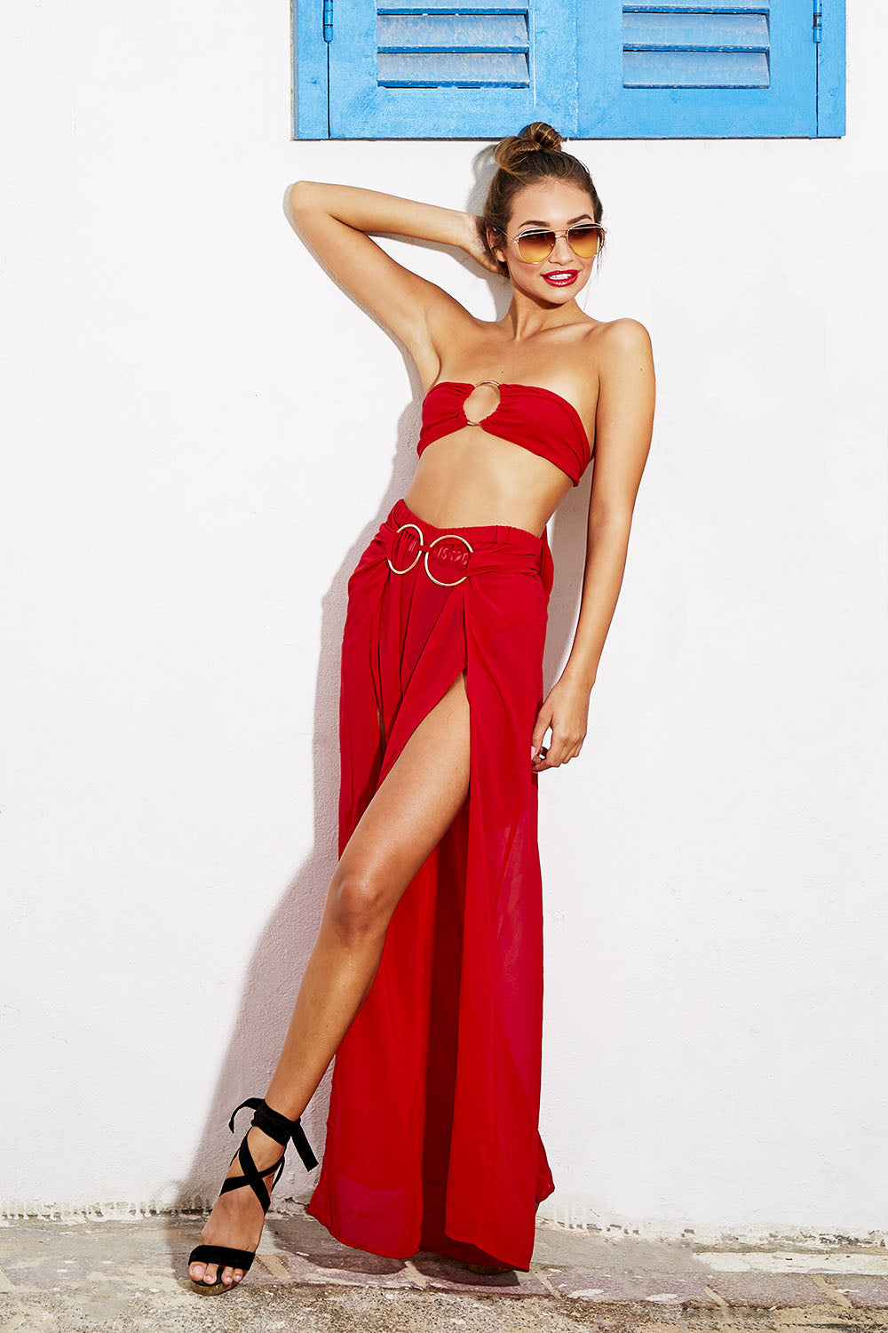 Red Ring Detail Chiffon Bandeau and Maxi Skirt Co-ord