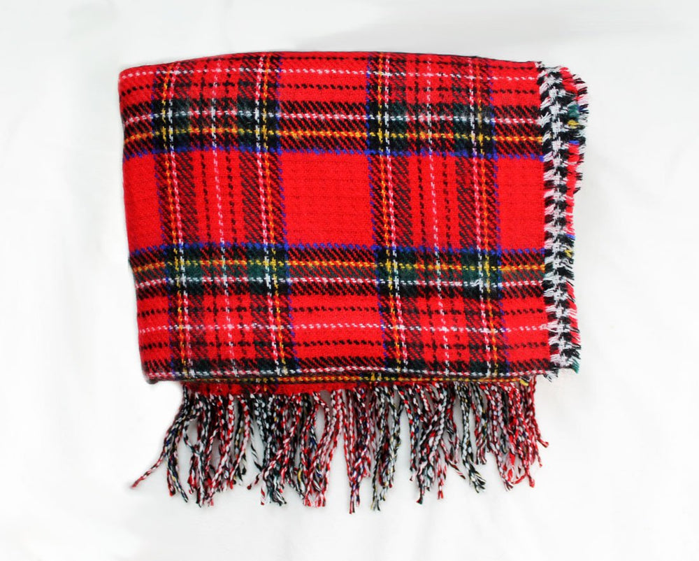 Brushed Double Face Check Blanket Scarf