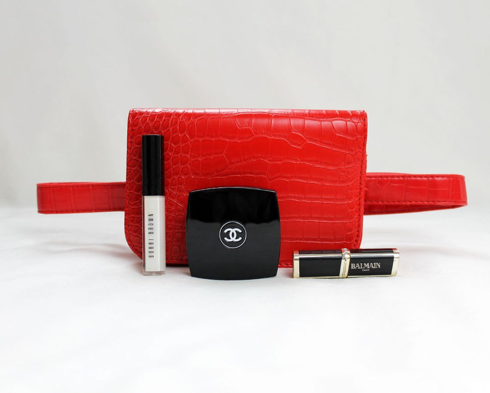 Red croc square belt bag
