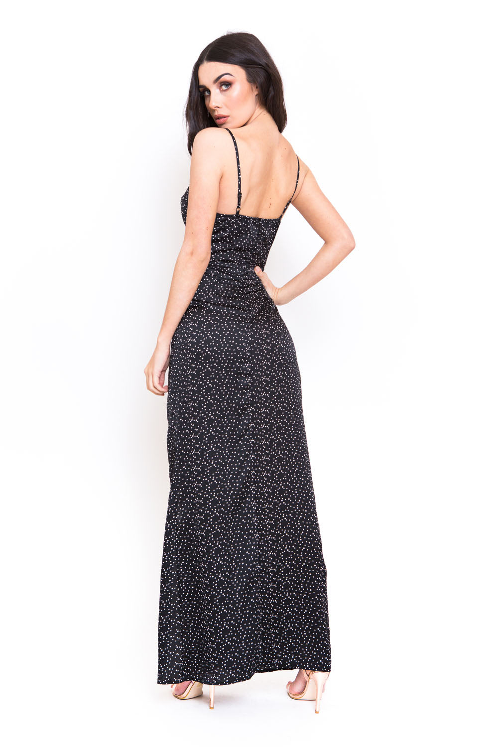 Polka Dot Cowl Neck Maxi Dress