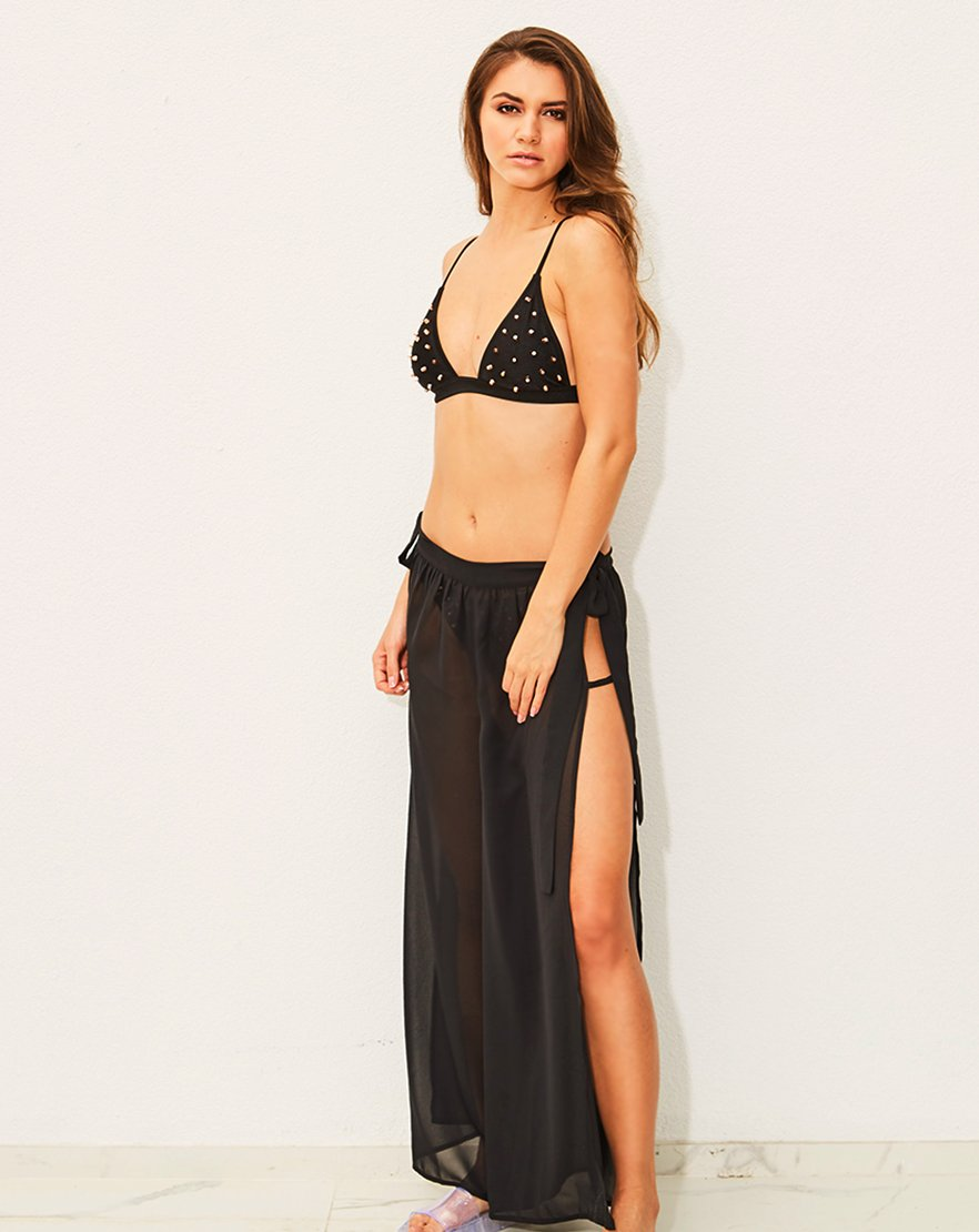 Black Split leg Chiffon Beach Trousers