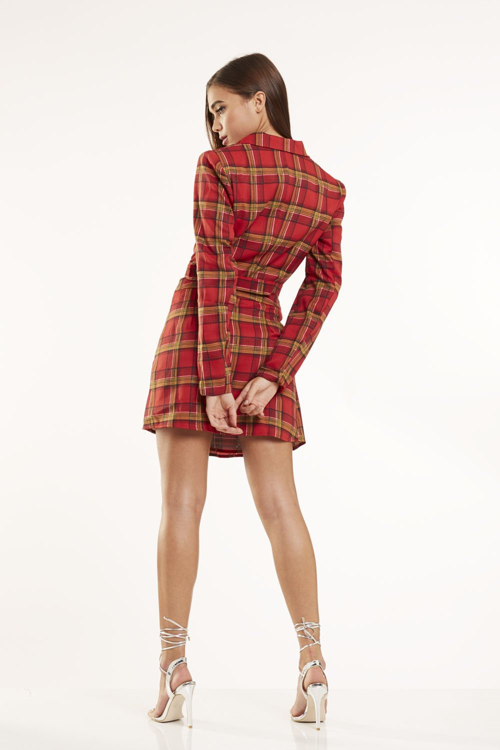 Red check cropped blazer co-ord