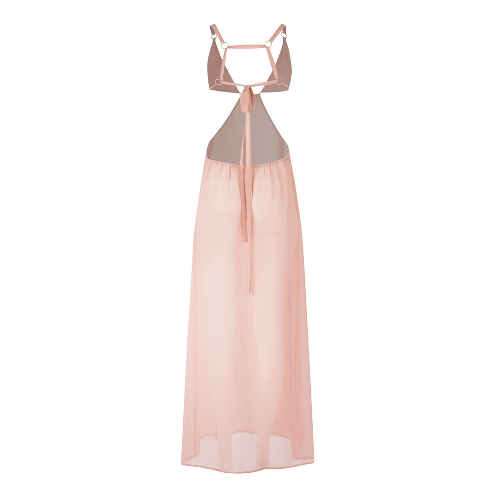 Plunge Chiffon Holiday Maxi Dress in Pink