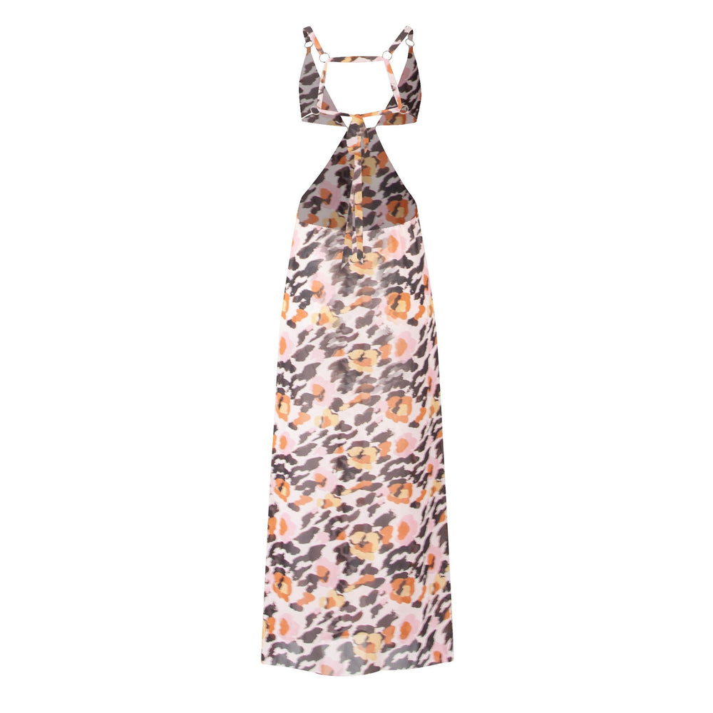 The Roses Are Gold - Leopard Print Plunge Chiffon Maxi Dress