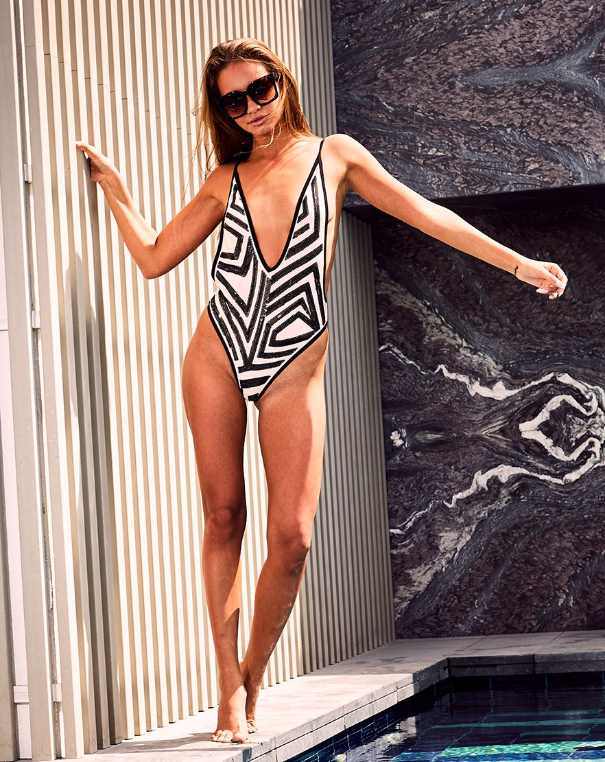 Sequin You Later - Mini Sequin Plunge Swimsuit