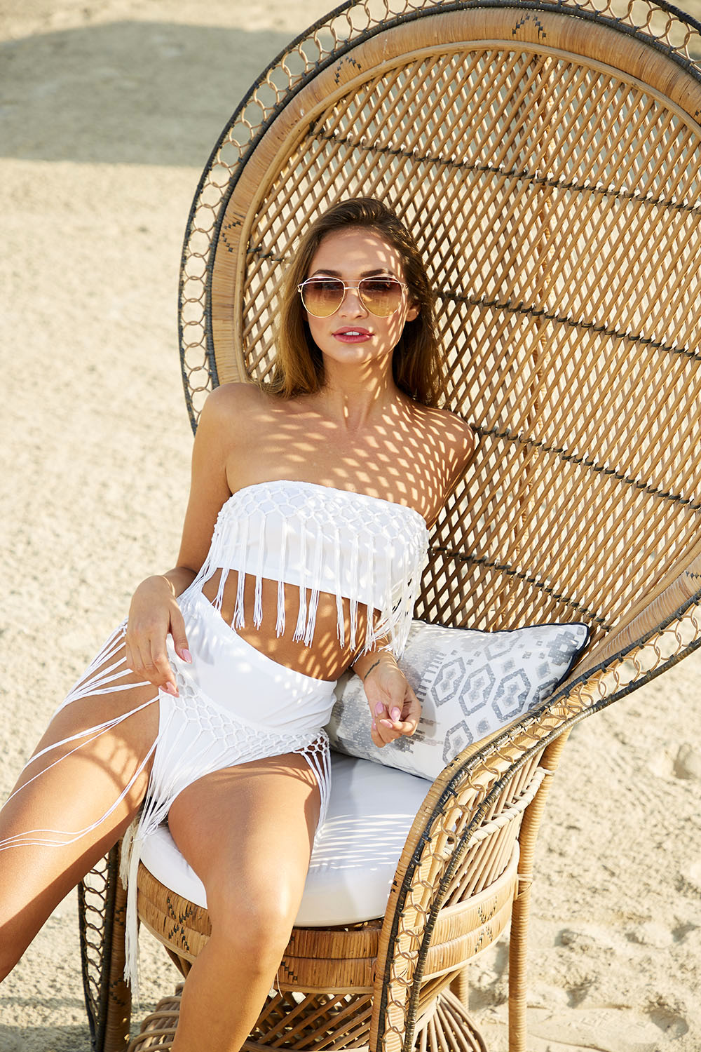 White Fringe Beachwear Co-ord
