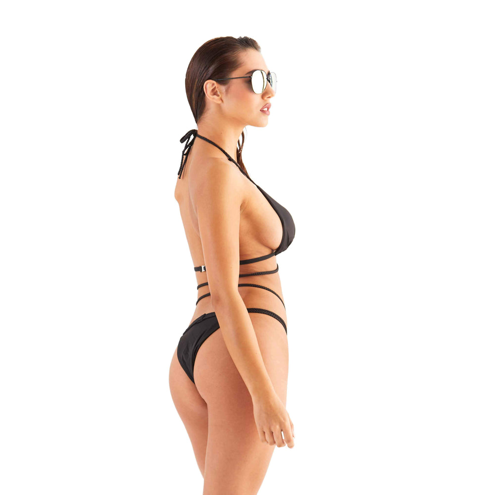 Black Triangle Bikini with Plait Strap Detail
