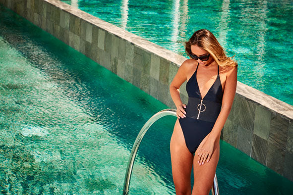 Elasticated Waist Plunge Swimsuit