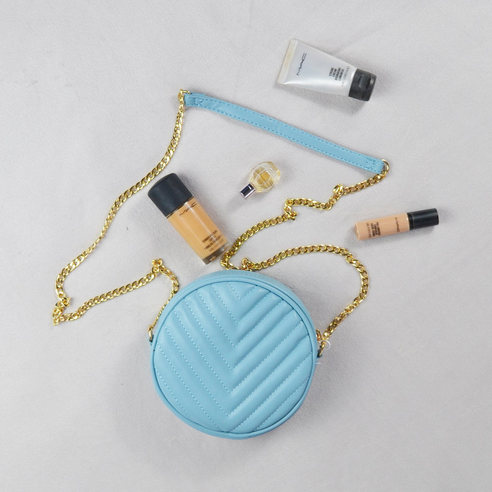Pastel Blue Quilted Circle Bag