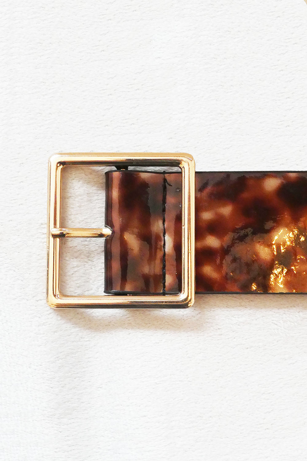Brown Resin Belt with Square Gold Buckle