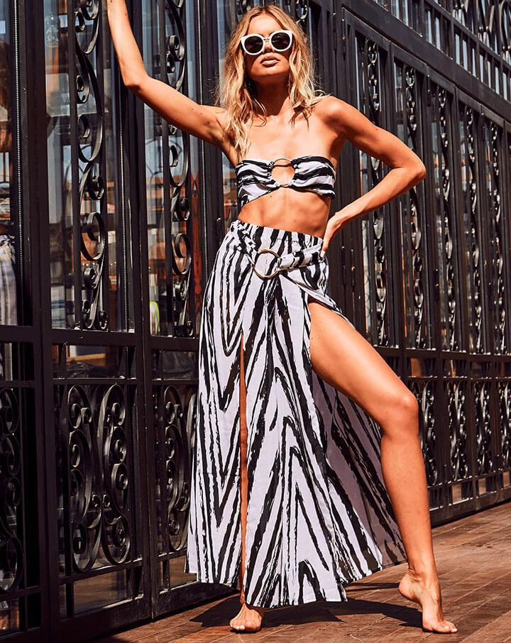 Stripe It Out - Ring Detail Chiffon Bandeau & Maxi Skirt Coord