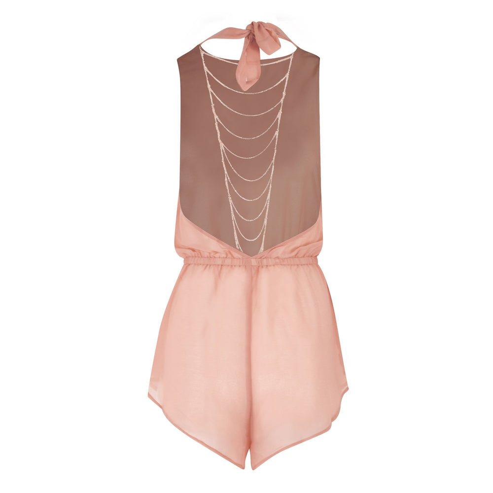 Meet Me At The Halter - Sheer Chiffon Backless Beach Playsuit