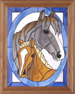 Mare with Foal Hand-painted Stained Glass Panel