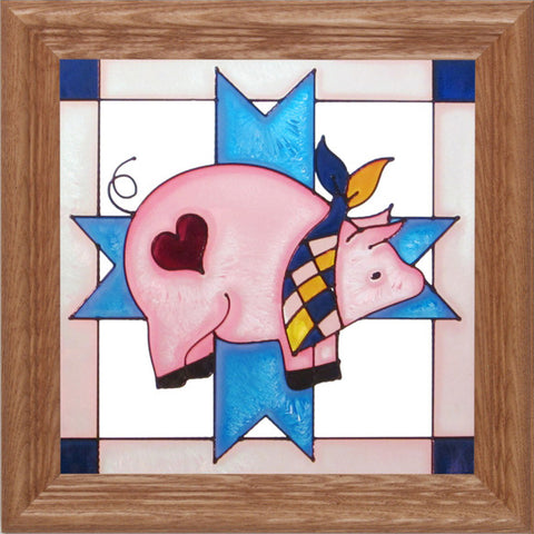 Pig Hand-painted Stained Glass Panel