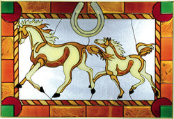 Modern Mare with Foal Hand-painted Stained Glass Panel