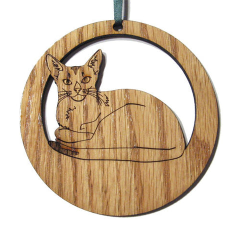 4 inch Abyssinian Cat Laser-etched Ornament