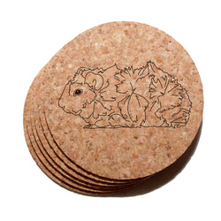 4 inch Abyssinian (Fluffy) Guinea Pig Cork Coaster Set of 6