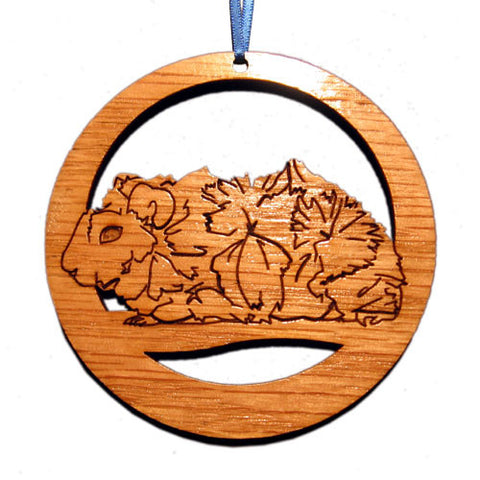 4 inch Abyssinian (Fluffy) Guinea Pig Laser-etched Ornament