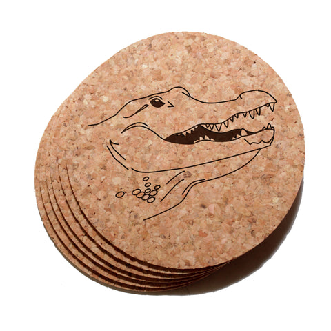 4 inch Alligator Cork Coaster Set of 6