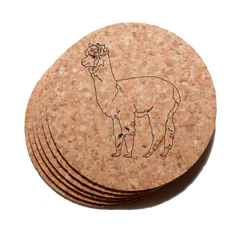 4 inch Alpaca Cork Coaster Set of 6