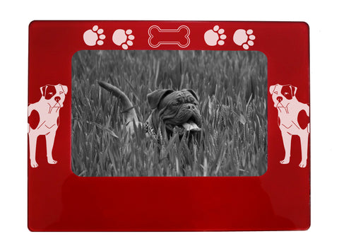 "Red American Bulldog 4"" x 6"" Magnetic Photo Frame (Horizontal/Landscape)"