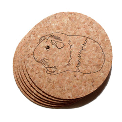 4 inch American (Smooth) Guinea Pig Cork Coaster Set of 6