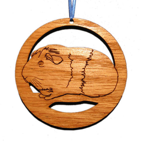 4 inch American (Smooth) Guinea Pig Laser-etched Ornament