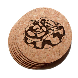 4 inch Ball Python Snake Cork Coaster Set of 6