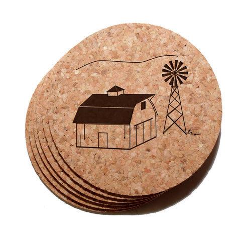 4 inch Barn & Windmill Cork Coaster Set of 6