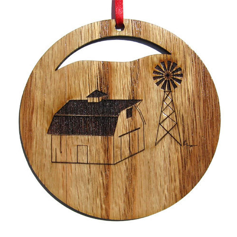4 inch Barn & Windmill Laser-etched Ornament