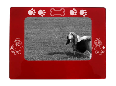 "Red Basset Hound 4"" x 6"" Magnetic Photo Frame (Horizontal/Landscape)"