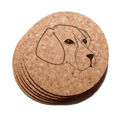 4 inch Beagle Face Cork Coaster Set of 6