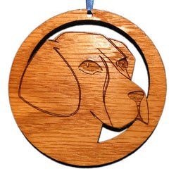 4 inch Beagle Face Laser-etched Ornament