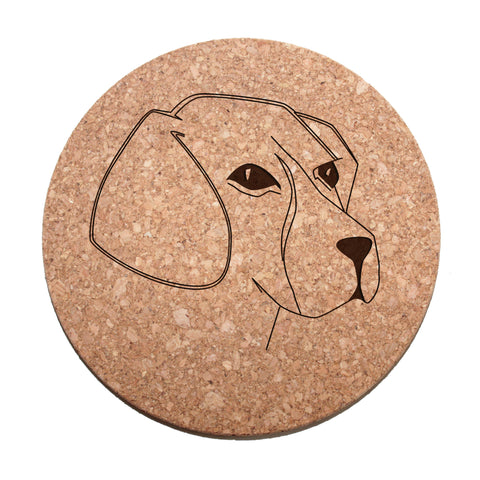 Beagle Face Cork Trivet