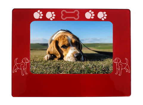 "Red Beagle 4"" x 6"" Magnetic Photo Frame (Horizontal/Landscape)"