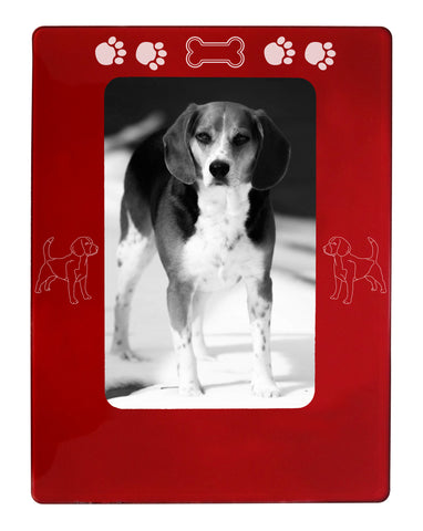 "Red Beagle 4"" x 6"" Magnetic Photo Frame (Vertical/Portrait)"