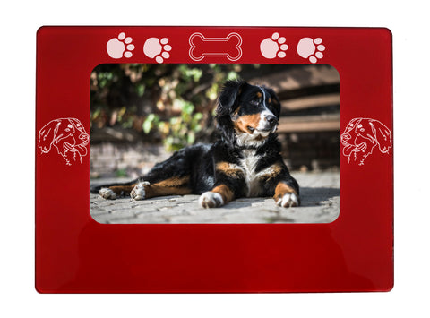 "Red Bernese Mtn. Dog 4"" x 6"" Magnetic Photo Frame (Horizontal/Landscape)"