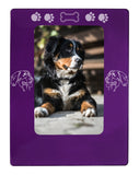 "Purple Bernese Mtn. Dog 4"" x 6"" Magnetic Photo Frame (Vertical/Portrait)"