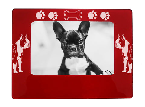 "Red Boston Terrier 4"" x 6"" Magnetic Photo Frame (Horizontal/Landscape)"