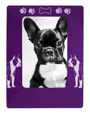 "Purple Boston Terrier 4"" x 6"" Magnetic Photo Frame (Vertical/Portrait)"