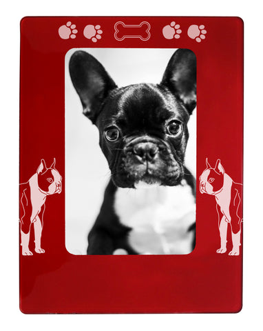 "Red Boston Terrier 4"" x 6"" Magnetic Photo Frame (Vertical/Portrait)"